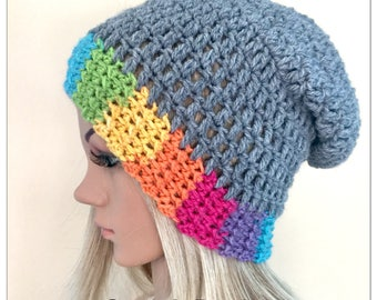 BUY1GET1HALFPRICE unique designer womens teens hand crocheted knitted oversized slouch beanie snood hat grey boho tam rainbow irish baggy