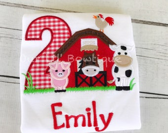 Farm Birthday Shirt - Personalized Cow T- Shirt - Farm Shirt - Barn Birthday Shirt - Tractor Birthday Shirt - Cow Shirt Pig Shirt -
