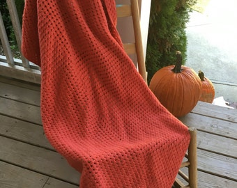 Vintage Orange Crochet Blanket Throw