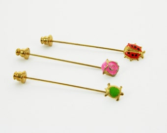 Ladybug Pin, Rose Pin and Turtle Pin - Stickpins Trio - Set of 3 Fruit Stickpins