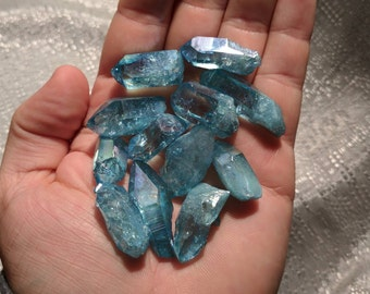 Aqua Aura Quartz Crystal Pick4u