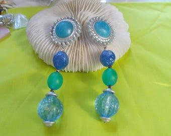 Vtg Clip On Earrings-Long Lucite Flower Style Beaded-C2505