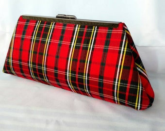 Red plaid evening clutch purse/Bridal accessory purse/ Wedding purse/ Bridesmaids gift purse  idea/ Custom made purse/ Gift for her