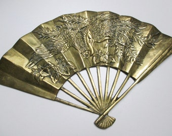 Vintage Solid Brass Phoenix Carved Fan