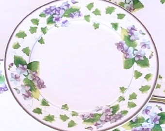 Vintage Garden Room Dinner Plates, Waverly Sweet Violet china, cottage chic tableware purple floral dinnerware, replacement china plates