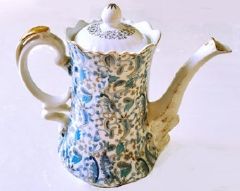 Retro Lefton China Teapot, paisley coffee carafe, gift for her, cottage chic style kitchenware, vintage housewares 4 cup coffee server
