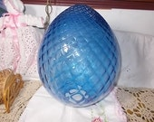 Vintage Light Shade Egg Shaped Pretty Blue  approx 17 in tall,Vintage Lighting,Vintage light Shades, Not Included in Coupon Sale