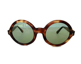 Vintage Oculens Round Sunglasses Tortoise Brown France Boho Fashion