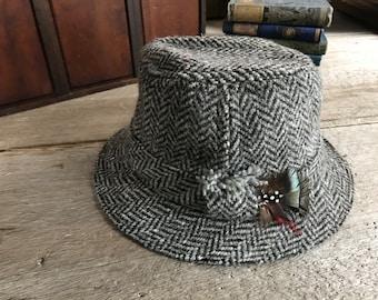 Irish Wool Herringbone Tweed Hat Country Wool Cap Feathers Hanna Hats Size M