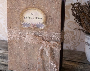Rustic Lavender Wedding Album, Rustic Photo album, Personalized Wedding guest book , Custom Wedding Photo Booth album