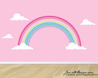 Rainbow Wall Decal, Pink Rainbow Fabric Wall Sticker,Girls Pink Rainbow Wall Decor