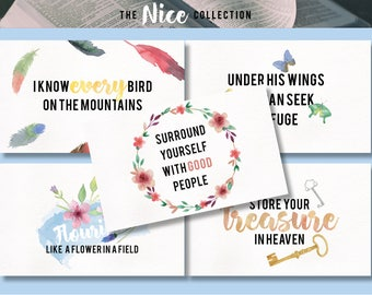 NICE Pack of 5 Inspiring Watercolour Postcards / Prints