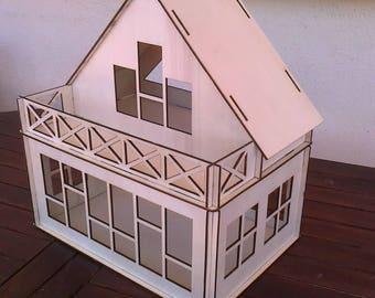 Wooden Dollhouse Plywood Kit Type B