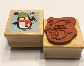 happy penguin rubber stamp, 23 mm (BB4/4)