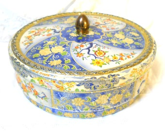 tin container vintage tin biscuit tin cookie tin metal tin canister vintage canister round tin