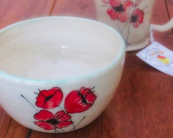 Ceramic Bowl with Hand Painted Poppies