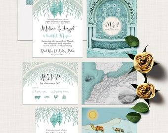 Morocco Arabia Desert Weddings Destination wedding invitation Teal Turquoise Blue illustrated wedding invitation - Deposit Payment