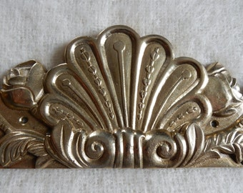 Antique French Large Brass Pediment, Ormolu Hardware Embellishment