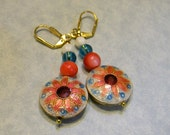 Flowered Cloisonné Disk, Shell and Glass Bead Drop Earrings