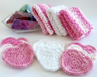 Cotton Crochet Washcloths Scrubbies Cotton Dishcloths Crochet Washcloths Kitchen Bath Washcloths Heart Scrubbies Rounds Valentine's Decor