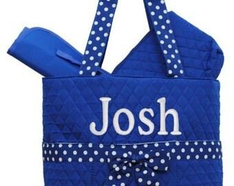 Quilted Royal blue Diaper Bag  3pc Set Large  purse tote bag-