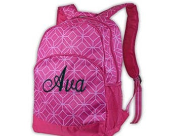 Backpack, Pink geo print, hot pink,  personalized free, back to school