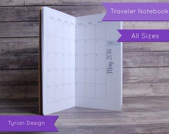 2018 MO2P Calendar for Midori Traveler's Notebook,  Dated 2018