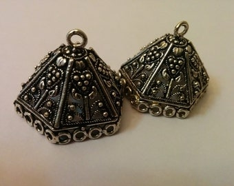 oxidized silver  large jhumkas or Indian hanging earring bases x 2, 29mm, free combined shipping