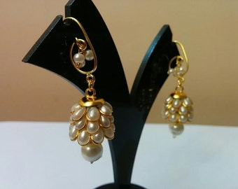 Three- tier Indian pacchi, pachi jhumkas in white pearl with golden hook, Indian jewelry, earing