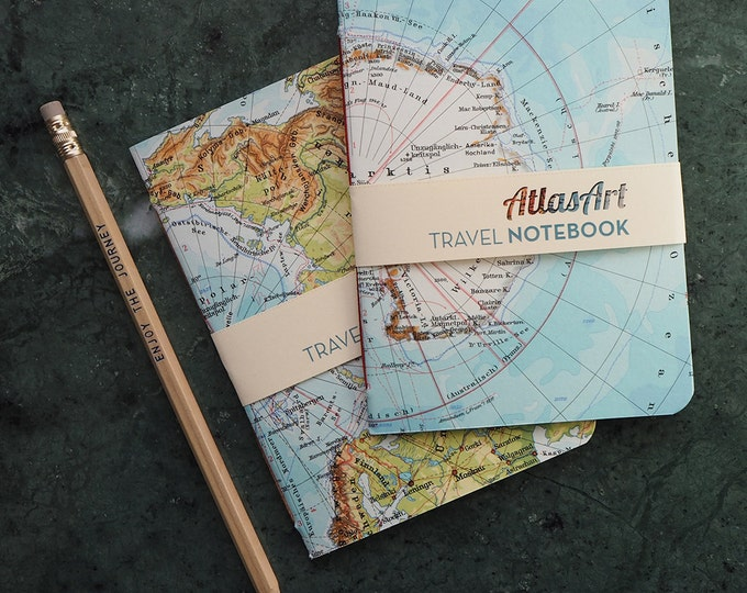NOTEBOOK SMALL, North- and Southpole, Arctic and Antarctica, 4x5,8inch, 32 p., plain/ruled, travel journal, atlas, map, vintage, upcycling