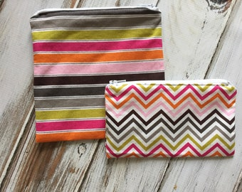 Sale! 3 Dollars Each - Stripe or Chevron Print Sandwich or Snack Bags (Optional Personalization) with Zipper Closure