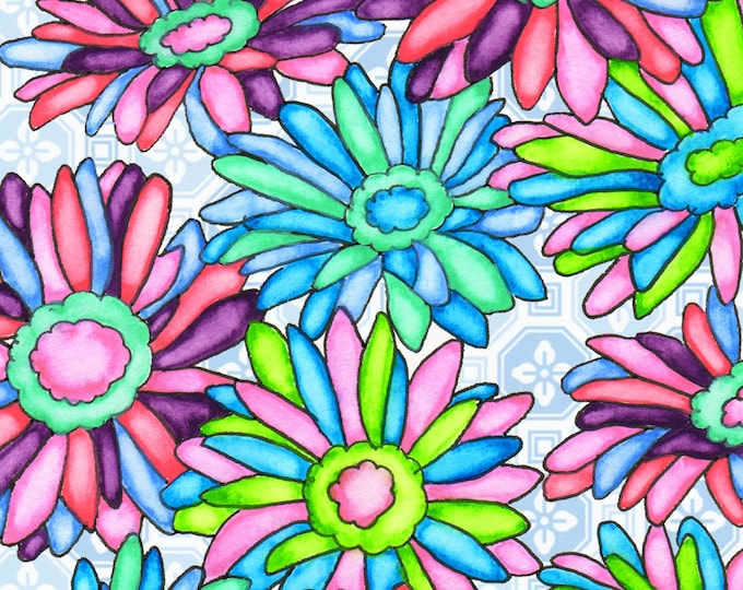 Painting / Art Print / Flower Nature Garden / Unique Artwork Gift /Mother Children  Nursery Baby Shower Girl's Room / Daisies