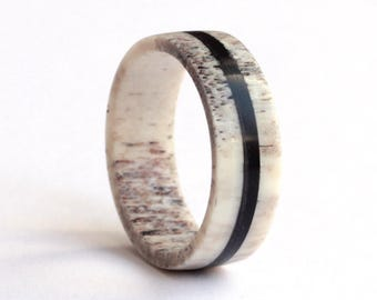 Antler Ring, Ebony Ring, Mens Ring, Wedding Ring,  Deer Antler and Ebony Wedding Band