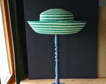 Vintage Straw Hat, Saks Fifth Avenue, Woven Hat, Green Hat, Ladies Straw Hat, Womens  Hat, Striped Hat, Summer Hat, Easter Hat, Italian Hat