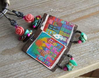 Earrings bohemian pop-gypsy city-vintage earrings-rusticand hippie earrings-style pop art-pendant artisanal village-turquoise-pink-yellow