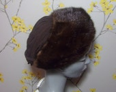 Vintage 1940s Mink and Silk Hat Brown Pleated Hat