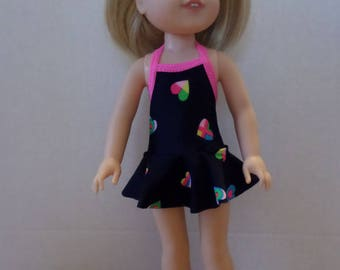 One piece skirted navy blue with hearts swimsuit American made to fit 14 1/2 inch Wellie Wisher Girl dolls