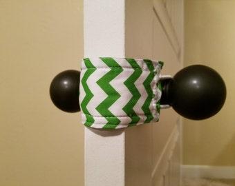 Green Chevron Door Silencer, Door Jammer, Nursery Door Silencer, Door cushion, Door latch cover, baby shower gift, PATENTED LATCHY CATCHY