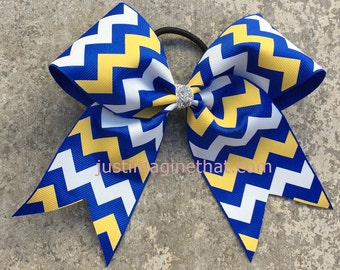 "2.25""x6""x6"" Sports sized Cheer Bow Royal Blue, Gold and White Chevron"