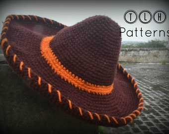Crochet hat pattern, crochet Mexican hat, crochet sombrero, crochet Mexican Sombrero, 3 sizes - baby, child and adult, Pattern No. 44