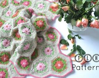 Crochet baby blanket pattern, crochet blanket pattern, crib blanket, hexagon afghan, Hexagon flower baby blanket, pattern no. 73