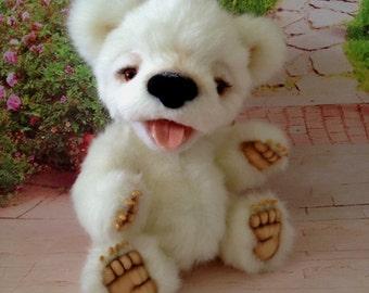 Polar bear cub OOAK teddy bear Jointed Artist Teddy Bear, Mohair teddy