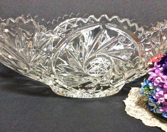 ABP Star and Pinwheel Centerpiece Bowl, Cut Glass ABP Holiday Serving Bowl