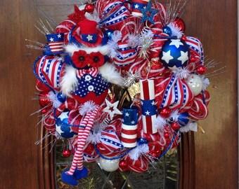 Patriotic Owl Wreath