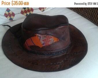 SALE Tooled brown leather hat embroidered kilim vintage