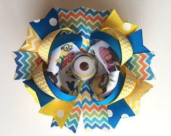SALE! Ready To Ship Hairbow! Chevron Minion Hairbow, Cute Minions Boutique Hairbow, Despicable Me Hairbow, Girls Hairbow