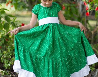 Girls Green Easter Dress - Green Polka Dot Dress - White Polka Dot Dress - Girls Peasant Dress - Summer Peasant Dress - Holiday Dress