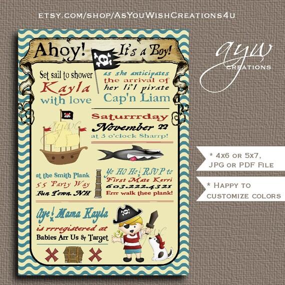 Pirate Baby Shower Invitation Boy Invitation Pirate Shower Invitation Ship Invitations Printable