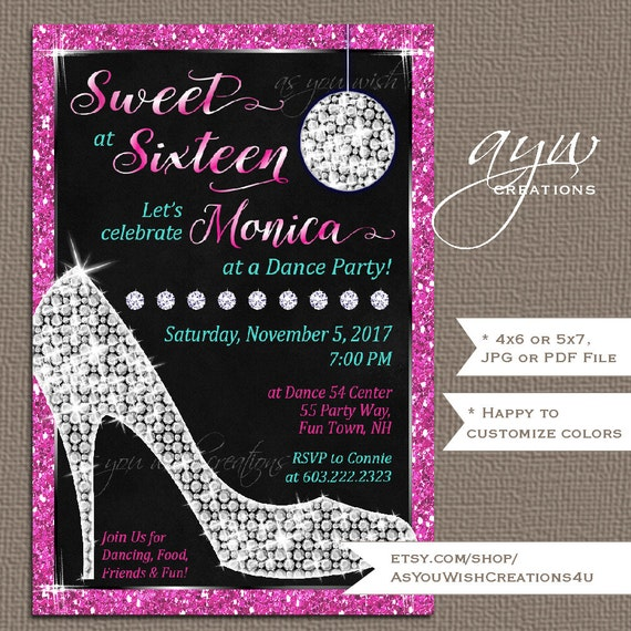Sweet sixteen invitations sweet 16 birthday party invites high heels il570xn filmwisefo