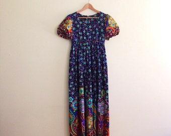 Vintage Black Retro Psychedelic Floral Maxi Dress / Rainbow Floral Bohemian Dress / Empire Waist Hippie Dress / Festival  - 1970s